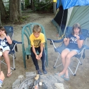 Kids making smores
